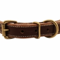 buy discount  Leather Center Ring Dog Collar Front of Buckle Detail