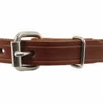 shop Leather Puppy Collar Front of Buckle Detail