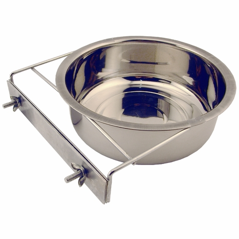 Medium Stainless Steel Kennel Cup with Bolt Clamp -- approx 60 oz.