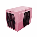 buy discount  Ruff Tough Kennels Intermediate Right-Side Entry Double Door Dog Crate Pink
