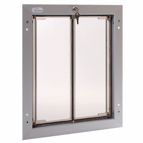 SATIN ALUMINUM Large Plexidor Door Mount Dog Door