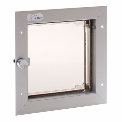 SATIN ALUMINUM Small Plexidor Wall Mount Dog Door