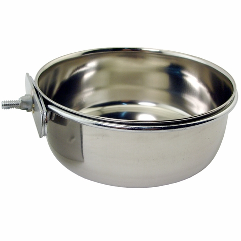 Small Stainless Steel Kennel Cup with Bolt Clamp -- approx 30 oz.