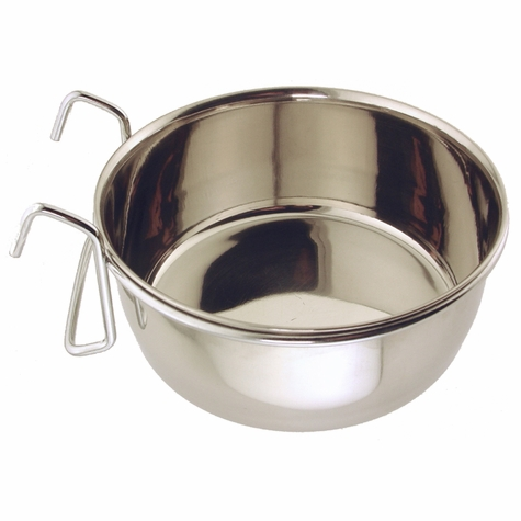 Small Stainless Steel Kennel Cup with Hanger -- approx 30 oz.