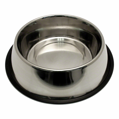 Small Stainless Steel No-Tip Dog Food & Water Bowl #8302 -- approx 32 oz.