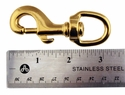"Bolt Snap with Round Swivel Eye -- Brass 3 1/4"" Long"