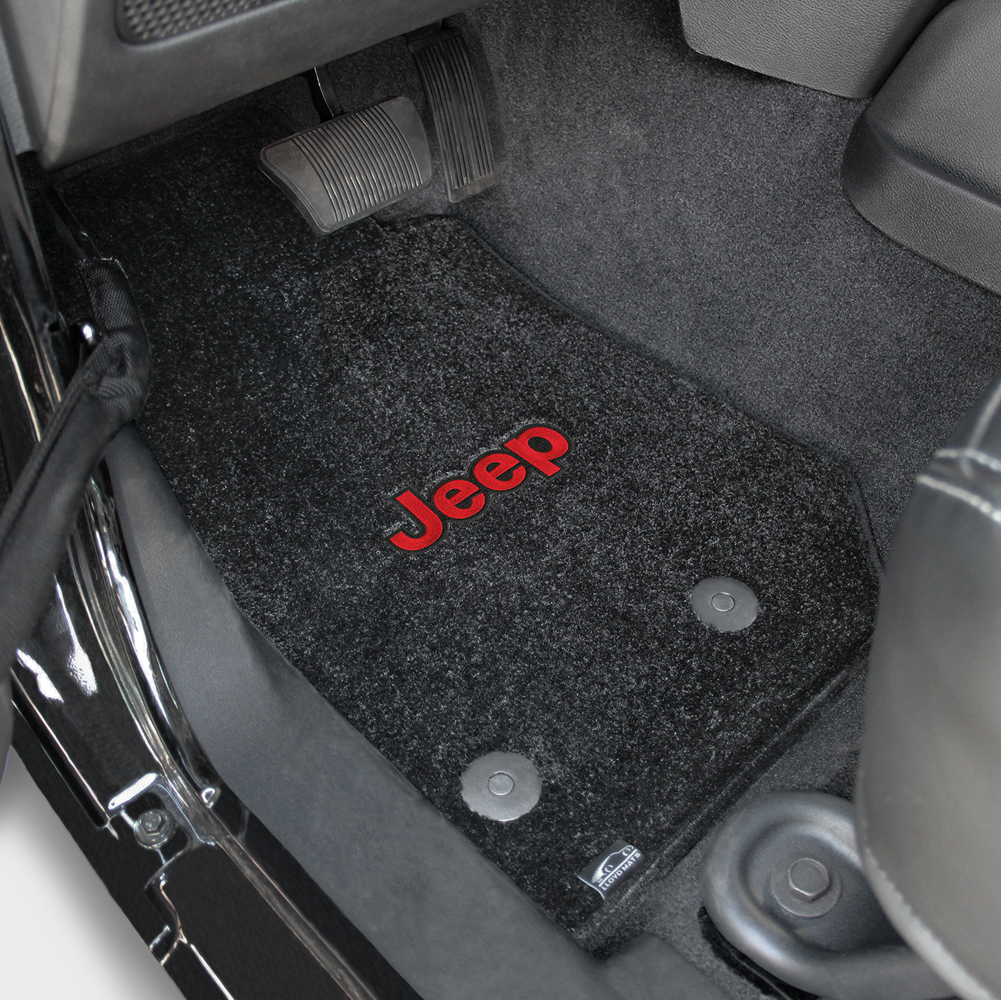 2014 2015 jeep wrangler unlimited red jeep logo ultimats front seat floor mats black by lloyd mats