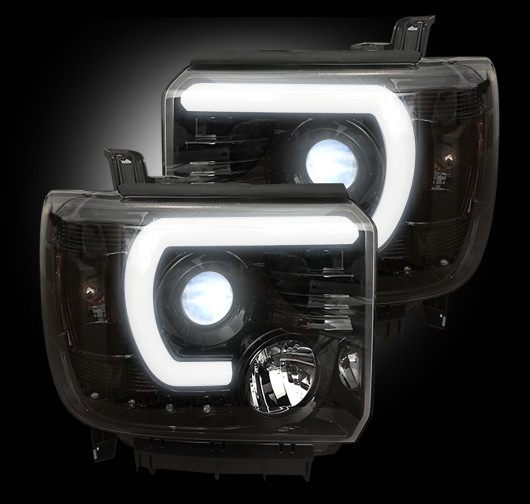 recon projector headlights for chevy and gmc recon black led projector headlights w drl 2014. Black Bedroom Furniture Sets. Home Design Ideas