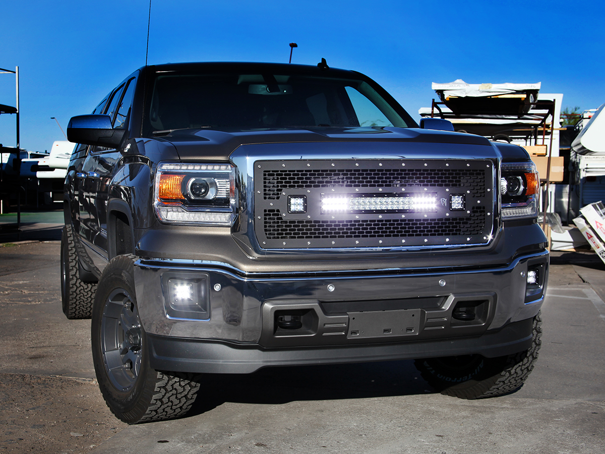 Gmc sierra 1500 led light mounts brackets by rigid industries 2014 2017 gmc sierra 1500 rigid industries replacement grille aloadofball Gallery