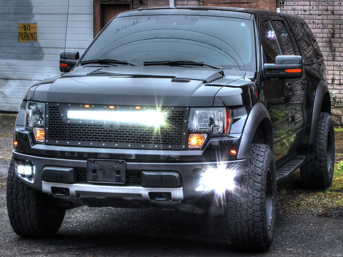 Radius led grilles featuring rigid curved led light bars by rigid 2011 2014 ford f 150 raptor wout front camera rigid industries led grille w 30 curved led light bar aloadofball Choice Image