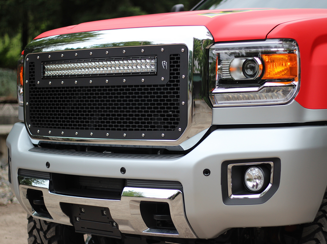 Radius led grilles featuring rigid curved led light bars by rigid 2015 2016 gmc sierra 2500 3500 rigid industries led grille w 30 curved led light bar aloadofball Image collections