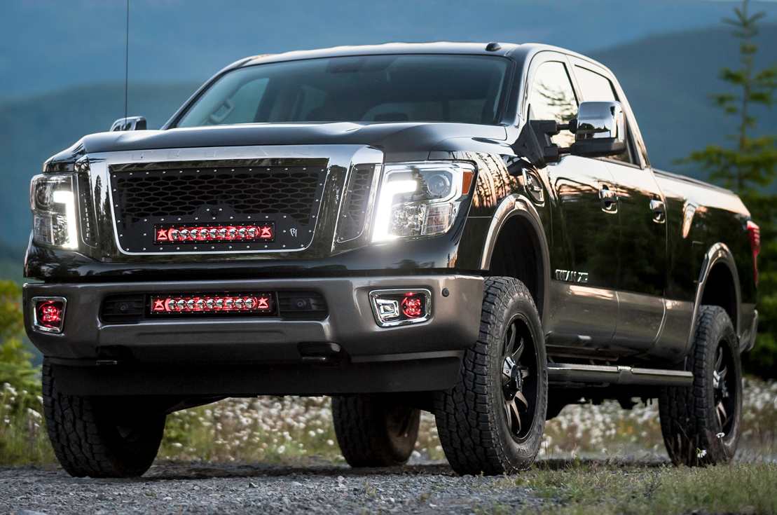Nissan led light mounts brackets by rigid industries 2016 2017 2016 2017 nissan titan led light bar bumper mounting kit by rigid industries aloadofball Image collections