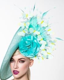 Angela, Turquoise Fascinator with Butterflies by Arturo Rios