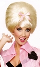 Beehive Wig in Blonde with Pink Bow
