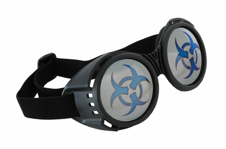 Biohazard Goggles in Black with Mirrored Lenses