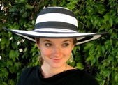 Black  and White Stripe  Sun Hat