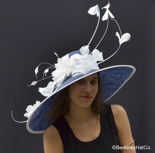 Breeders Cup Derby Hat in Navy and White