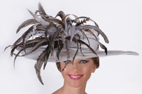 Feather Bouquet Sinamay Derby Hat