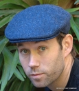 Herringbone Irish Wool Tweed Ivy Cap, Blue (IR47)
