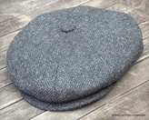 Irish Newsboy Cap Cabbie Cap dark grey herringbone (IR68)