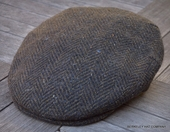 Irish Wool Flat Cap, Green Herringbone   (IR77)