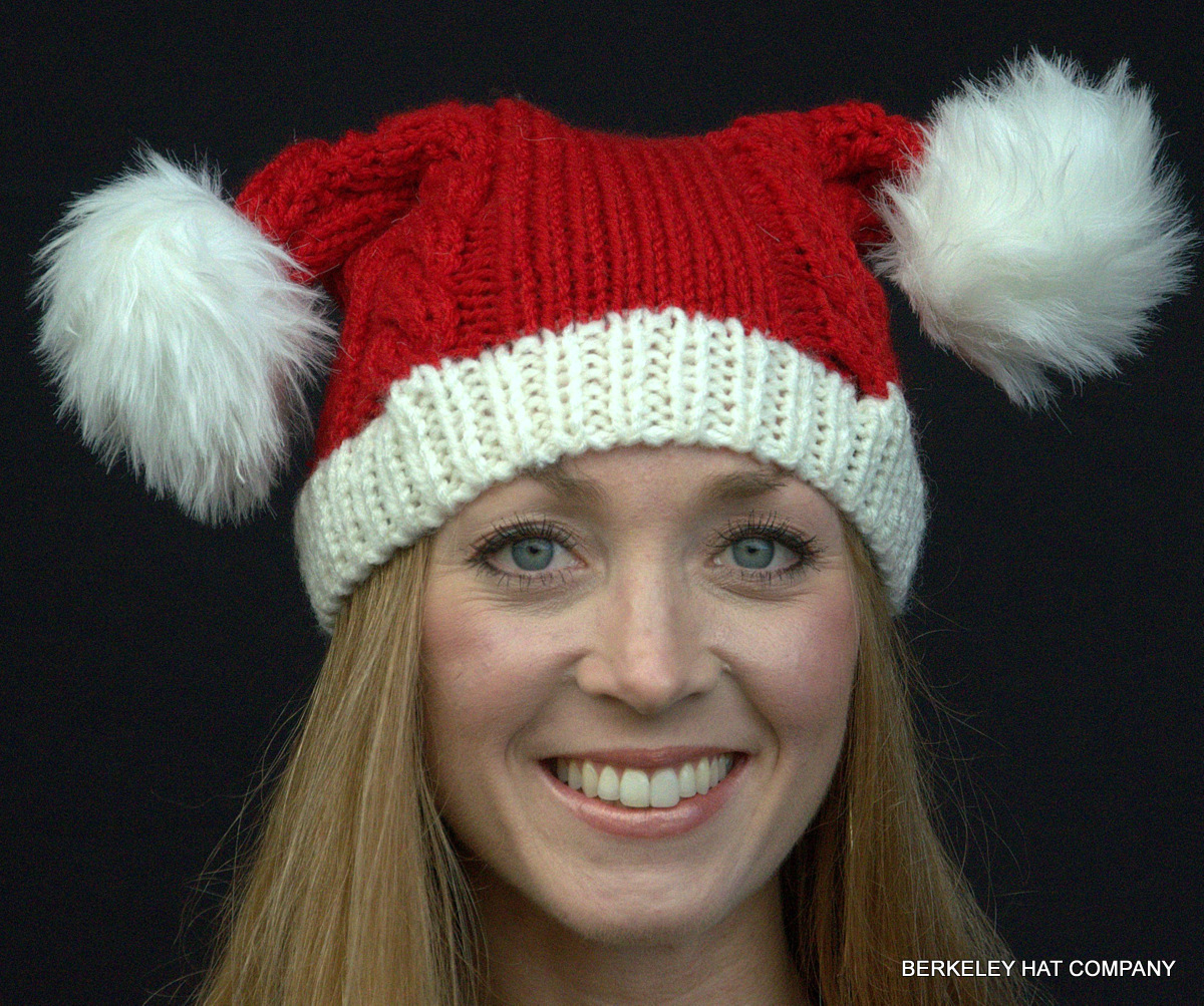 Knit santa hat double pom poms bankloansurffo Images