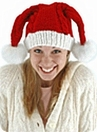 Knit Santa Hat Double Pom-Poms