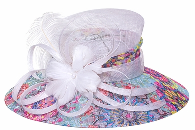 Color Infusion Brocade Lace Covered Derby Hat