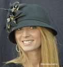 Ladies Wool Felt Cloche Hat with Faux Suede Flower