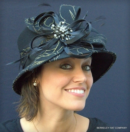 Ladies Wool Felt Dress Hat with Black and Gold Lace