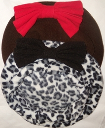 Leopard Print Beret in Polar Fleece