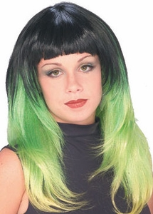 Lime Delight Two-Tone Wig