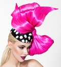 Lisa, Black and White Polka Dot Pillbox with Hot Pink Bow by Arturo Rios