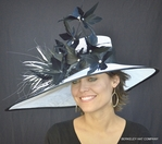 May Madness Kentucky Feather Hat In White with Black Trim
