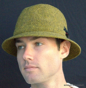 Mens Irish Walking Hat in Olive/Gold Donegal Tweed  (IR09)