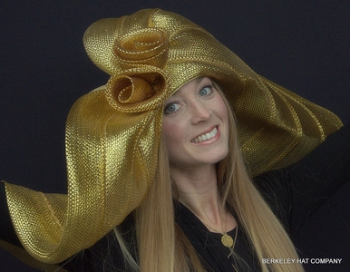 Metallic Big Brim Hat for the Kentucky Derby in Gold