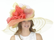 Nyssa, Yellow/Orange Wide Brim Kentucky Derby Hat by Christine A. Moore