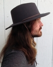Pinched Crown Wool Outback Hat in Grey with Chin Cord