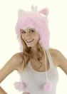 Pink Pussy Cat Hat, Hoodie Style in Faux Fur
