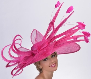 Pretty Pink Pheasant Feather Kentucky Derby Hat