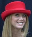 Red Wool Low Crown Top Hat