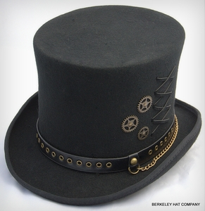 Steam Punk Black Wool Felt Top Hat with Gear Charms