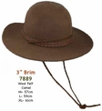 Tall Crown Brown Wool Felt Hat with Chin Cord
