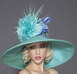 Tamara, Turquoise and Aqua-Green Derby Hat by Arturo Rios