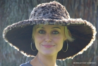 Wide Brim Animal Print Floppy Hat in Faux Fur