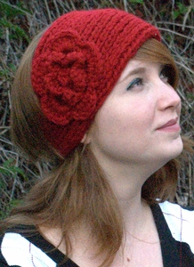 Women's Knit Head Band With Flower
