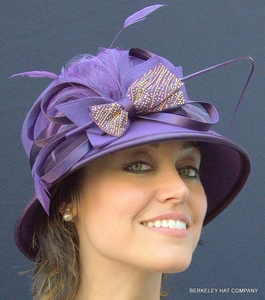 Wool Felt Dress Hat with Bow and Naked Quill