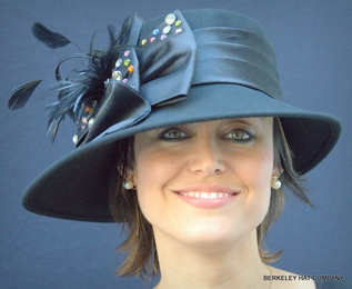 Wool Felt Women's Dress Hat with Multicolored Stones