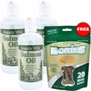 3-PACK Simply Wild Salmon Oil (48 fl oz) + Free BONIES Skin and Coat Health MINI (20 Bones 7 oz)