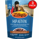 3 Packs Zuke's Hip Action with added Glucosamine and Chondroitin - PEANUT BUTTER (18 oz)
